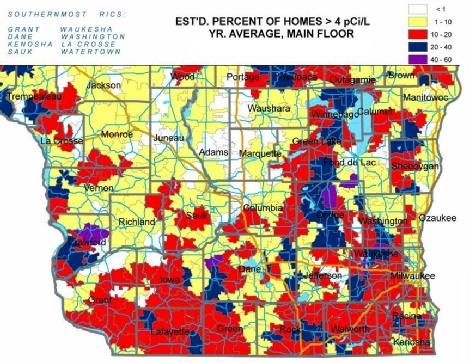 Wisconsin Radon Map